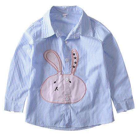 Turn-Down Collar Bunny Pattern Button Up Shirt