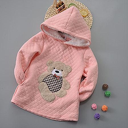 Cotton Cartoon Bear Pattern Hooded Sweatshirt
