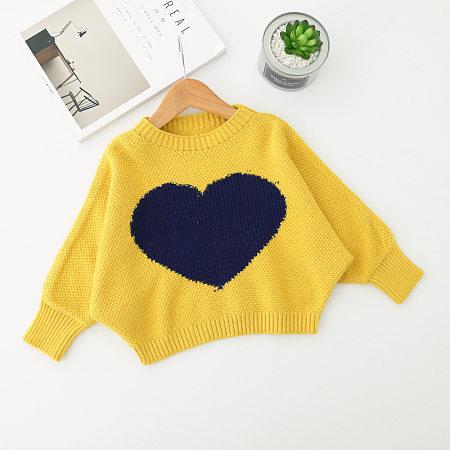 Heart Pattern Batwing Sleeve Sweater