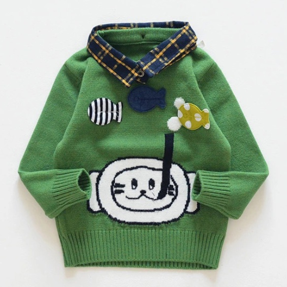 Fish Applique Plaid Roll Collar Sweater