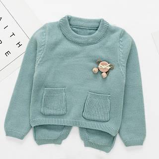 Brooch Embellished Open Fork Sweater