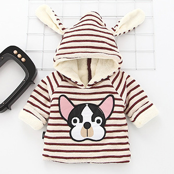 Bulldog Pattern Stripe Thickened Hoodie