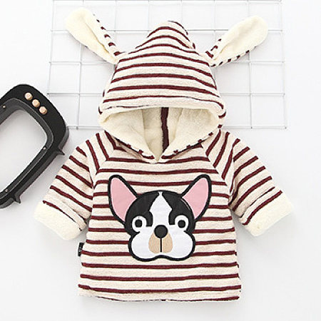 Bulldog Pattern Stripe Thickened Hoodie