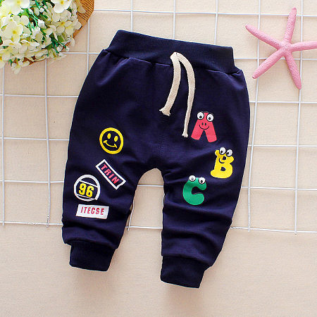 Cartoon Letter Print Drawstring Pants