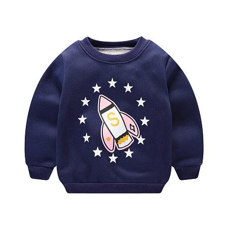 Cartoon Rocket And Stars Pattern T-Shirt
