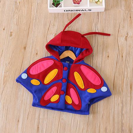 Cartoon Butterfly Pompon Embellished Cloak