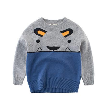 Cartoon Tiger Pattern Color Block T-Shirt