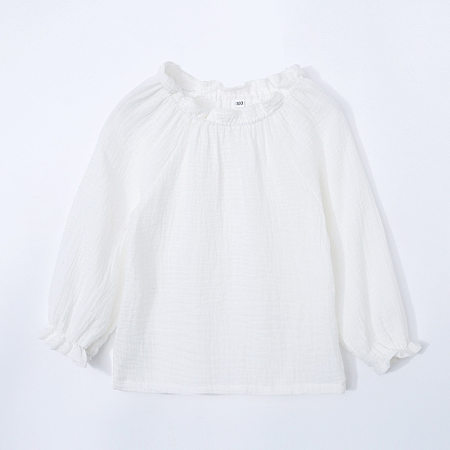 Solid Color Ruffle Trim Tops