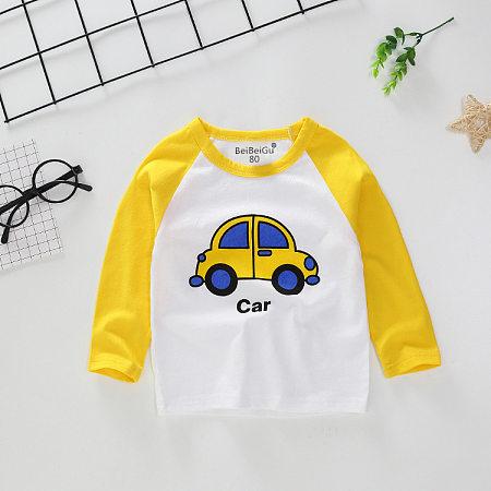Cartoon Car Color Block T-Shirt