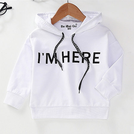 Solid Color Letter Pattern Hooded Drawstring Pullover