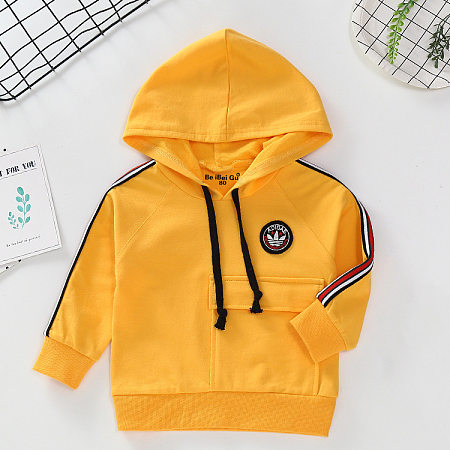 Solid Color Drawstring Hooded Pullover