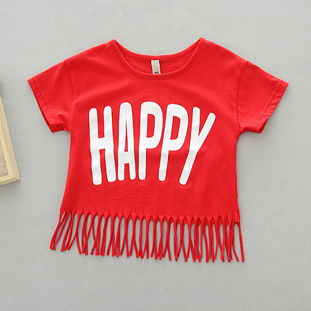 HAPPY Tassels Girls Summer T-shirt