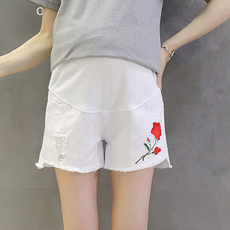 Maternity Rose Appliqued Shorts