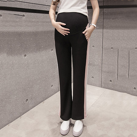Maternity Side Striped Abdomen Supportive Pants
