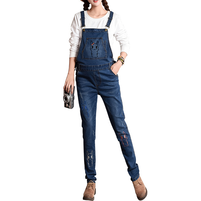 Maternity Embroidered Bunny Suspender Jeans