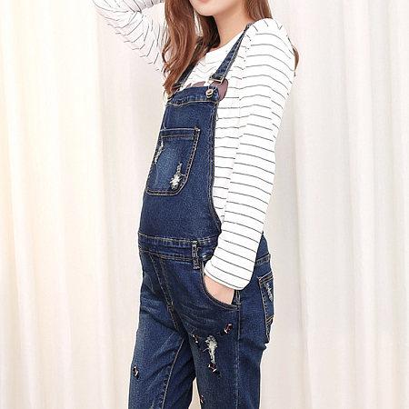 Maternity Abdomen Supportive Suspender Jeans