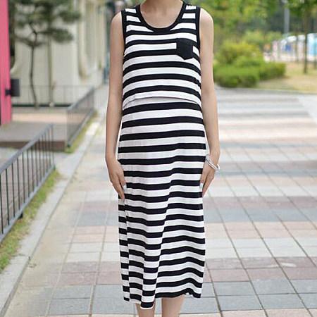 Black Stripe Maternity Dress