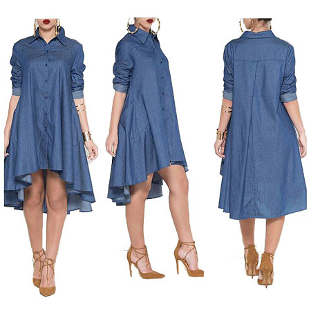 Long Sleeve Denim Flouncing Dress