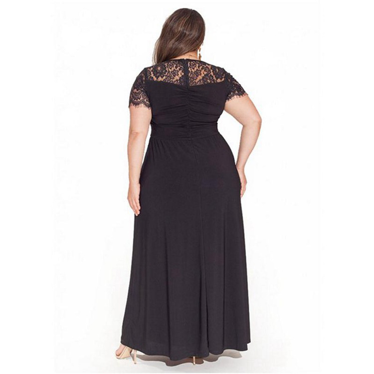 Maternity Lace Patchwork Round Neck Full Length Dress