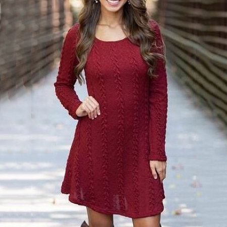 A-Line Ribbed Knitted Short Dress