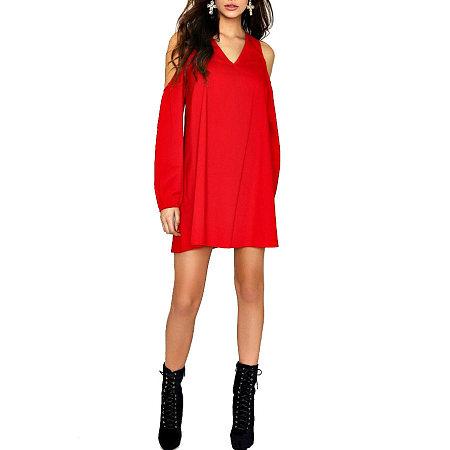 V-Neck Cold Shoulder Long Sleeve Short Dress