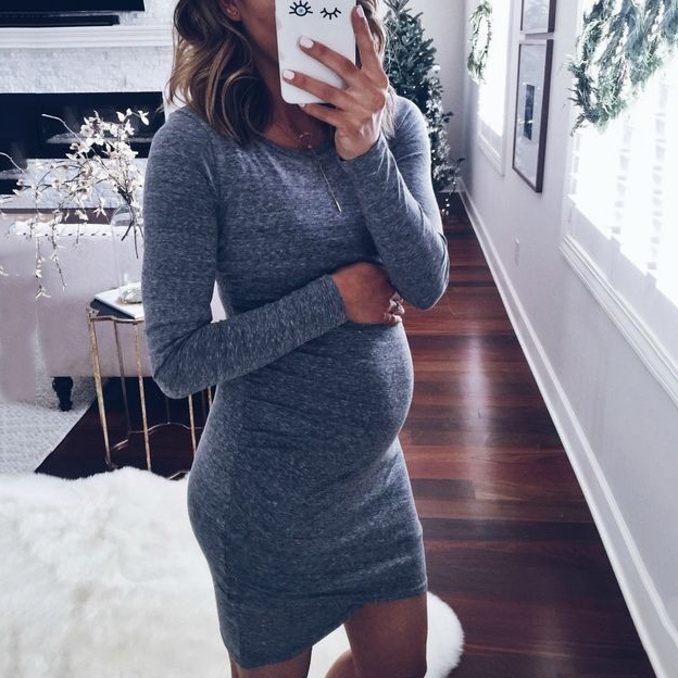 Maternity Long Sleeve Short Dress