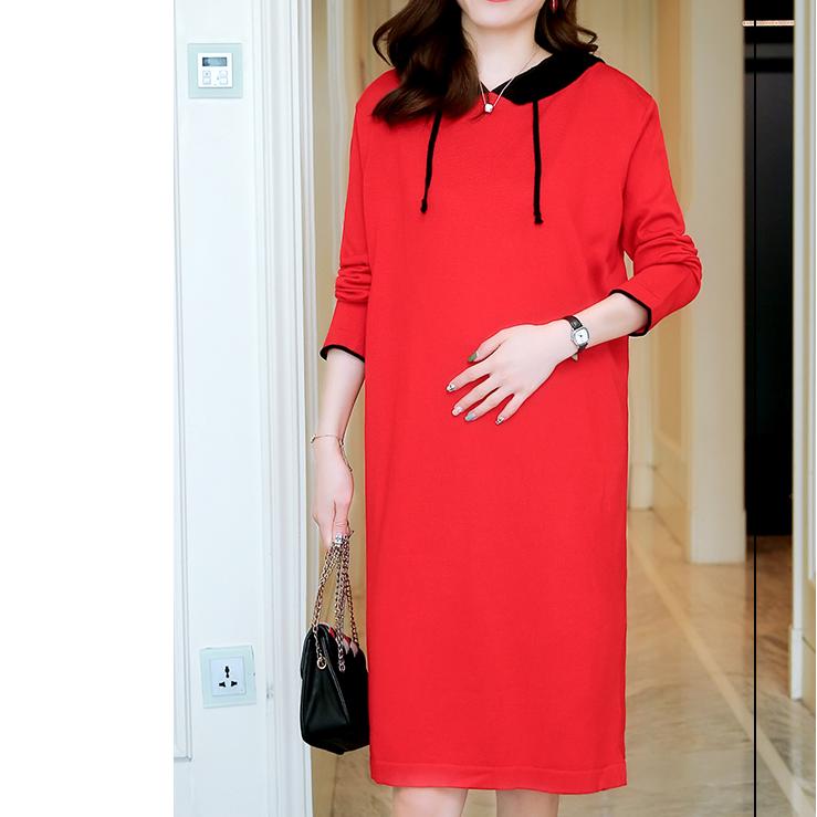 Maternity Two Tone Drawstring Hooded Dress