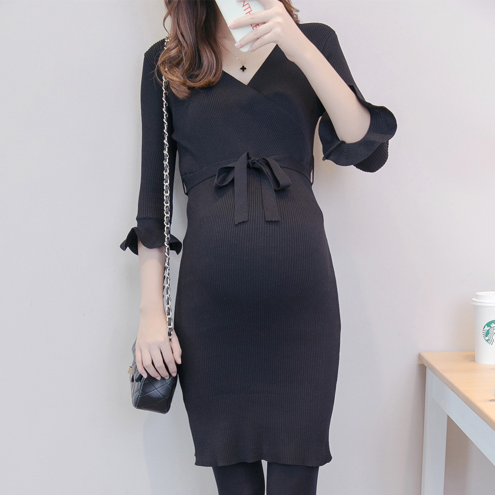 Maternity Trumpet Cuff Knitted Dress With Belt