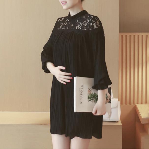 Maternity Chiffon Lace Hollow Out Short Dress