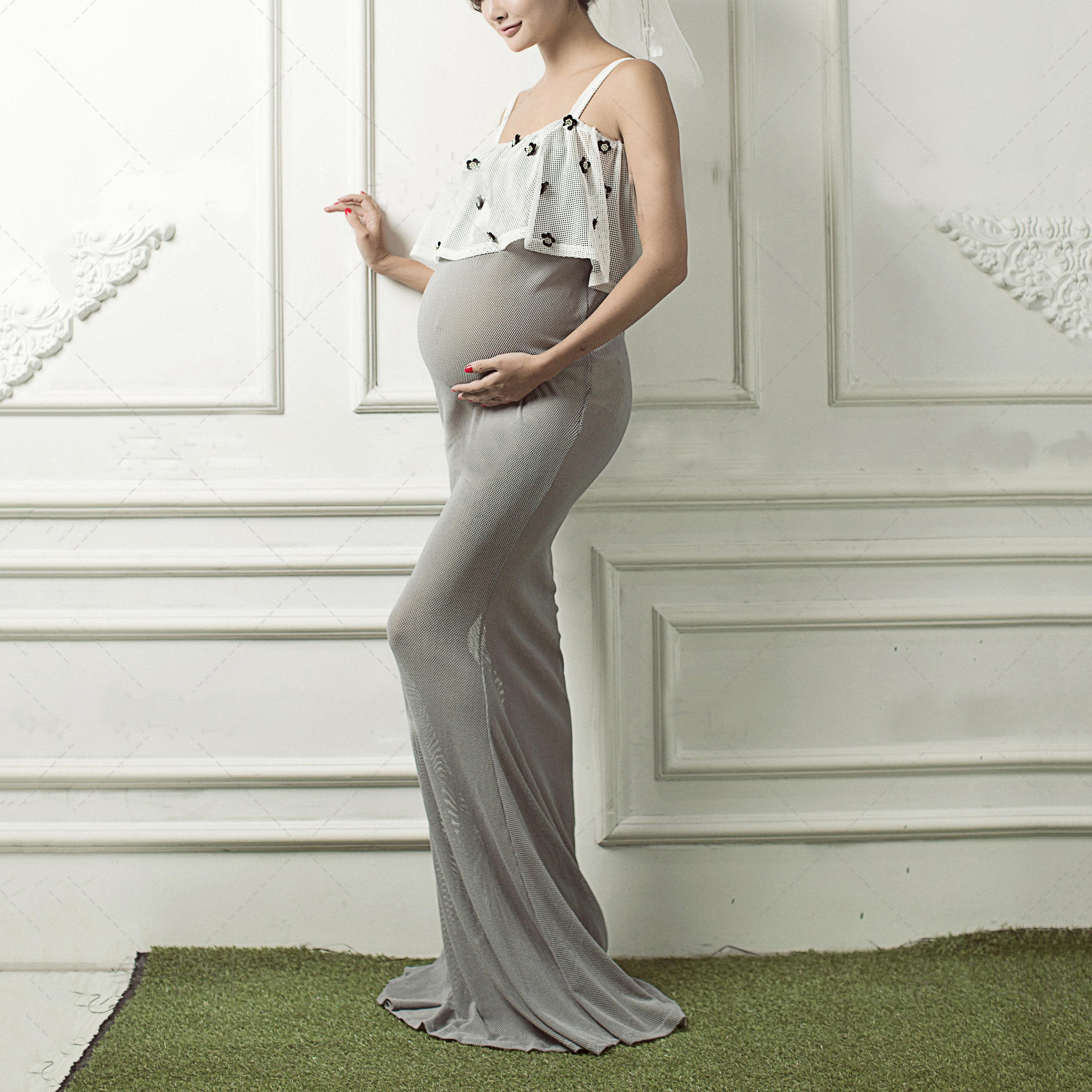 Maternity Flower Decorated Cami Floor Length Dress