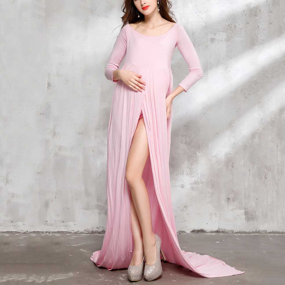 Maternity Round Neck Floor Length Dress