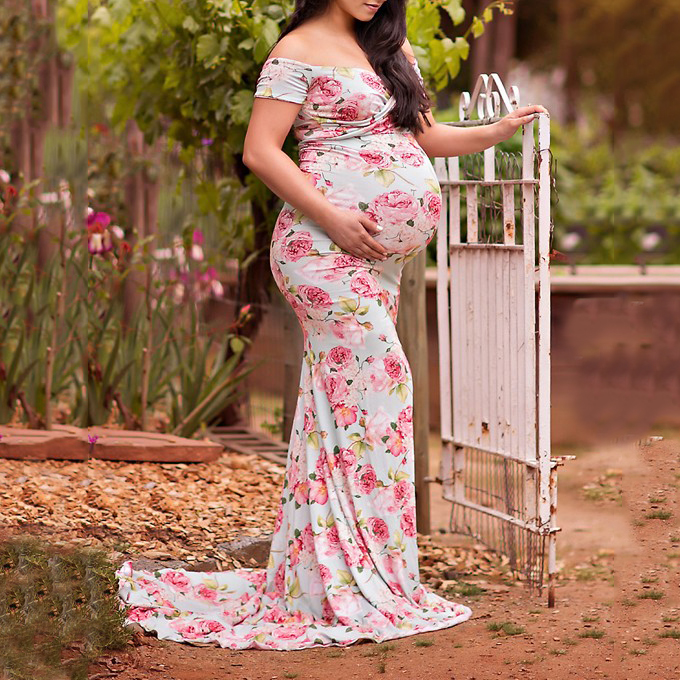 Floral Print Off Shoulder Maternity Dress