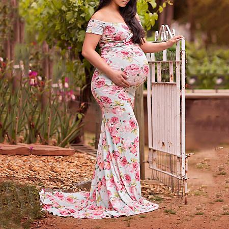 84de941359a Floral Print Off Shoulder Maternity Dress - popreal.com