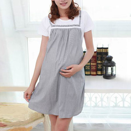 Maternity Stripes Patchwork Casual Dress
