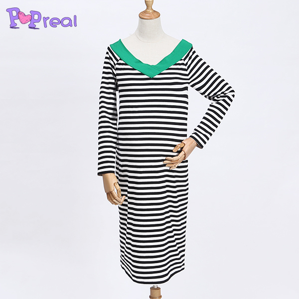 Contrast Striped V-Neck Maternity Dress