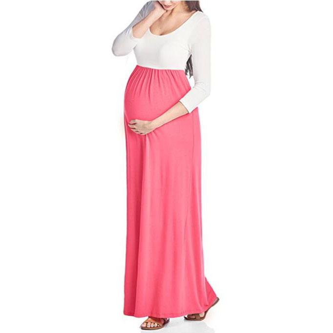 Maternity 3/4 Sleeve Contrast Maxi Dress