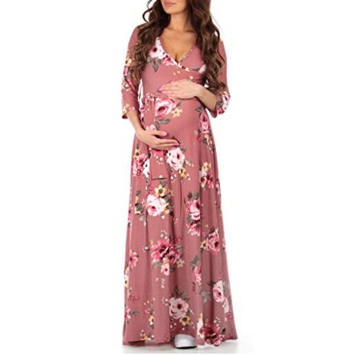 Maternity Flowers Print Full Length Dress With Adjustable Belt