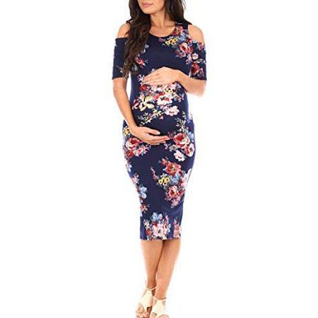 Maternity Cold Shoulder Body-Con Dress
