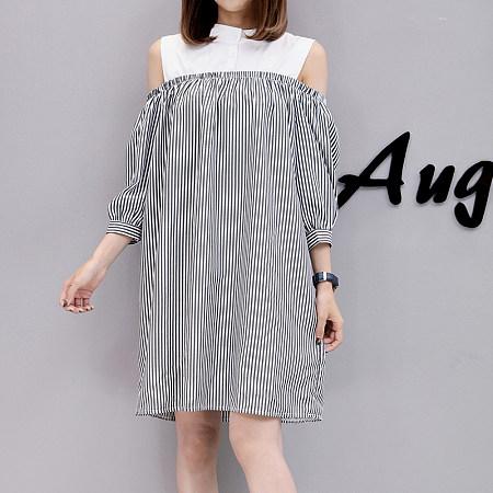 Cold Shoulder Stripes Dress
