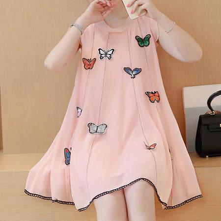 Butterflies Decorated Sleeveless Dress
