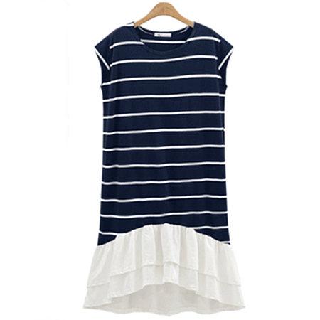 Stripes Patchwork Chiffon Dress