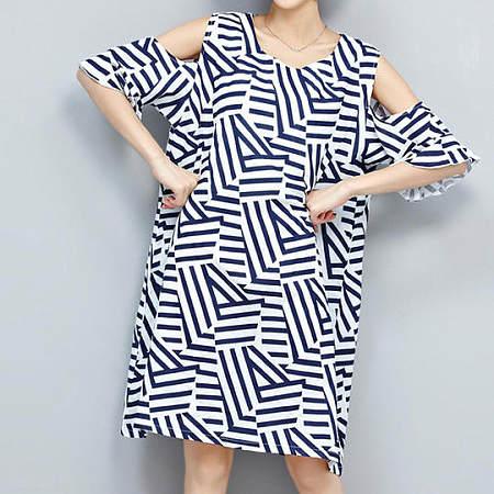Irregular Pattern Cold Shoulder Dress