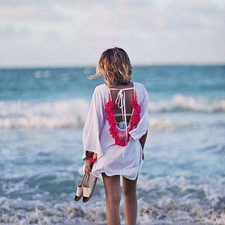 Tassels Lace-Up Beach Dress