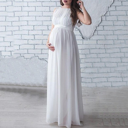 Maternity Sleeveless Chiffon Full Length Dress - popreal.com
