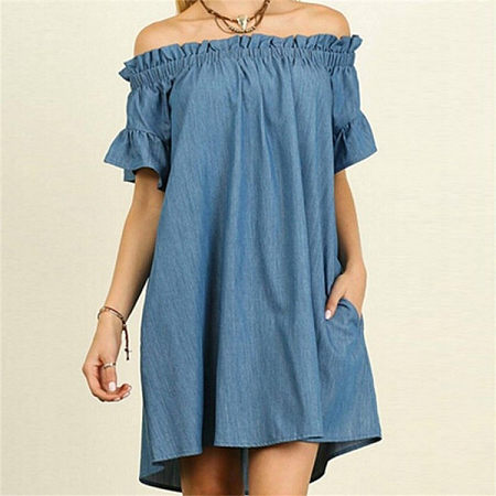 Denim Off Shoulder Midi Dress