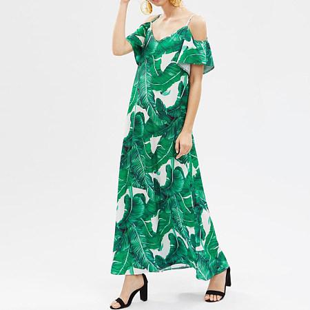 Leaves Print Cold Shoulder Full Length Dress