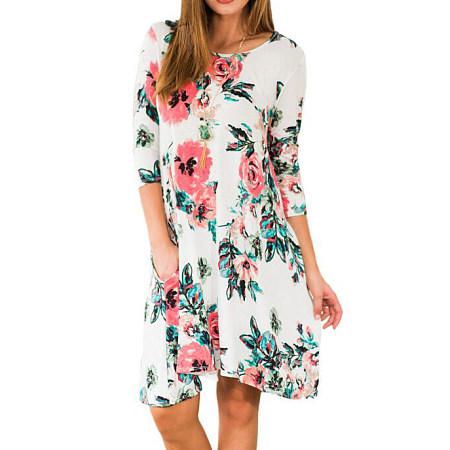 Long Sleeve Dress In Floral Print