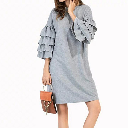 Flounced Sleeve Round Collar Dress