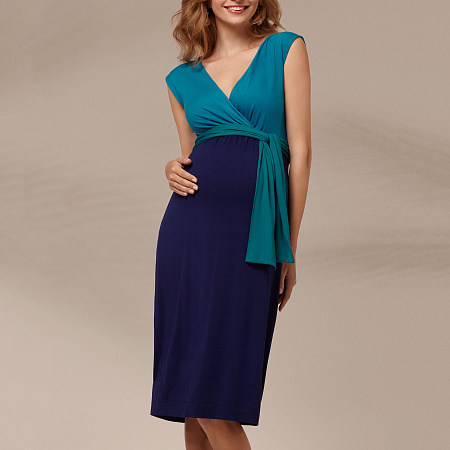 Maternity Sleeveless V-Neck Bow Tie Midi Dress