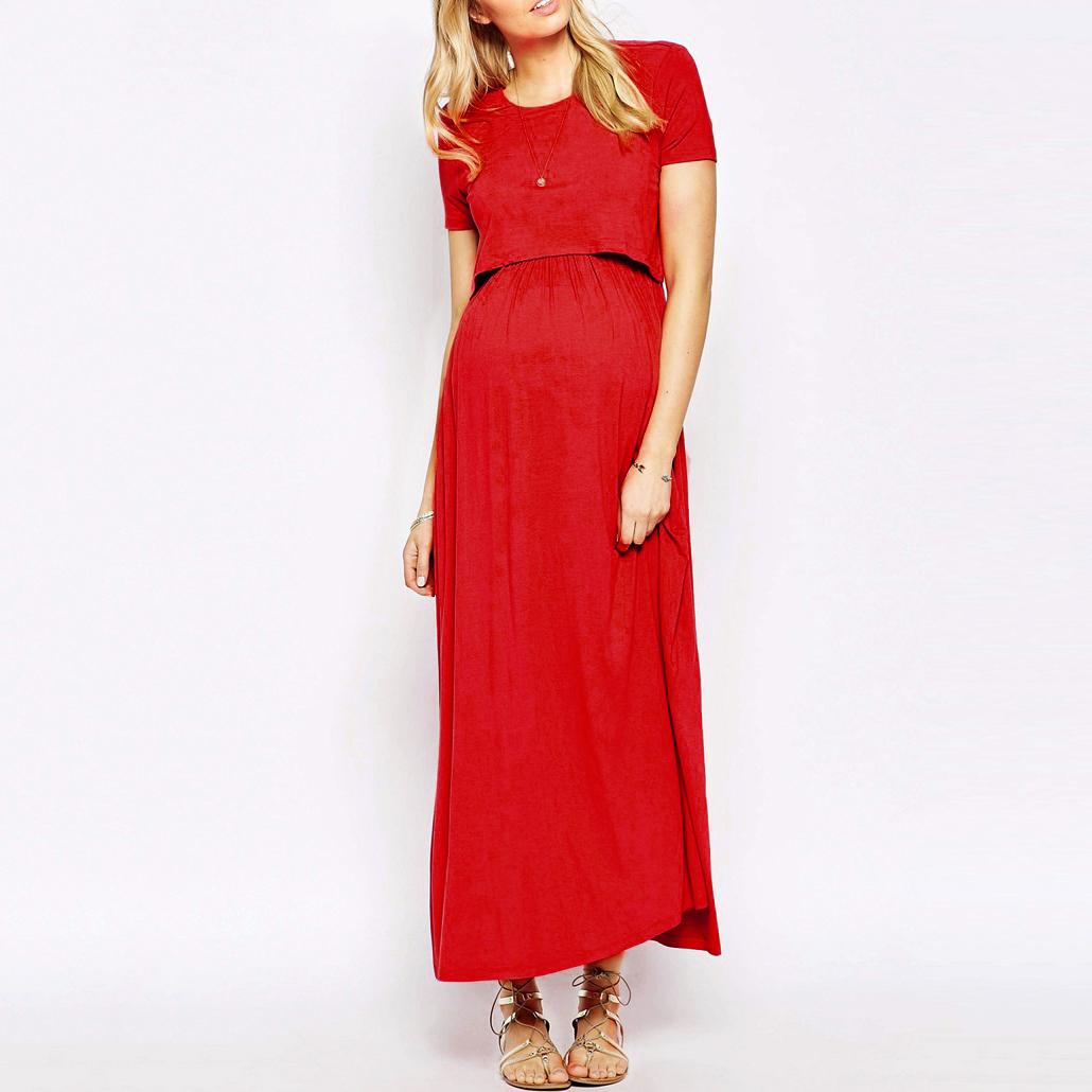 Maternity Nursing Short Sleeve Full Length Dress